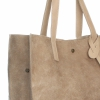 Torba Skórzana Shopper Bag z Kosmetyczką Beżowa