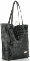 Vittoria Gotti Włoski Shopper XL Uniwersalna Torba Skórzana do noszenia na co dzień z modnym motywem Żółwia Butelkowa Zieleń