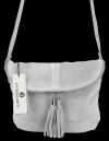 Uniwersalna Listonoszka Skórzana na co dzień w rozmiarze M firmy Vittoria Gotti  Jasno Szara
