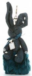 Přívěšek ke kabelce Brokátový králík s pomponem tyrkysový