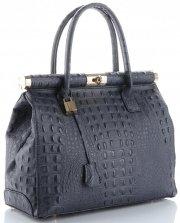 Kožené kabelky kufříky XL vzor Aligátor Genuine Leather šedá