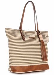 Dámské kabelky David Jones Shopper Bag XXL béžová/zelená