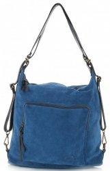 Kabelka batůžek přírodní kůže Vittoria Gotti Modrá Jeans