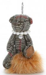 Přívěšek ke kabelce Káro medvídek v náhrdelníku z perel na pompomu zrzavý