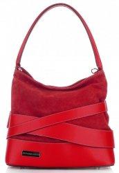 módní a elegantní kožená italská kabelka Vittoria Gotti červená