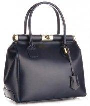 Kožené kabelky kufříky Genuine Leather Tmavě modrá