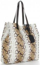 Vittoria Gotti Exkluzivní Kožené Kabelky Shopperbag XL hadí vzor s kosmetickou