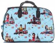 Cestovní taška na kolečkách s výsuvnou teleskopickou rukojetí Or&Mi English Girl Multicolor - tyrkysová