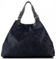 Univerzální kožená italská kabelka Genuine Leather Tmavě Modrá