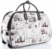 Cestovní taška na kolečkách s výsuvnou teleskopickou rukojetí Or&Mi Newspaper Paris&London Multicolor - bílá