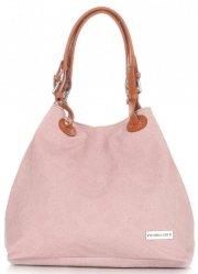 Univerzální kožená italská kabelka Vittoria Gotti světle růžová