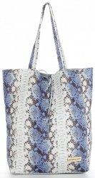 Vittoria Gotti Kožené Kabelky Shopperbag XL hadí vzor Modrá