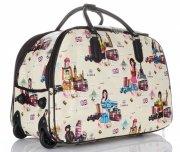 Cestovní taška na kolečkách s výsuvnou teleskopickou rukojetí Or&Mi English Girl Multicolor - světle béžová