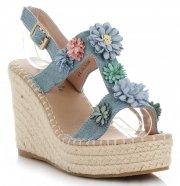 Módní Dámské Boty Na Platformě s květinami Lady Glory Světle Modré