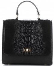 Kožená kabelka kufřík Aligátor černá