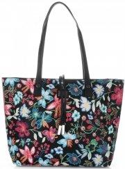 Dámské kabelky v květinovém vzoru David Jones s kosmetikou Černá