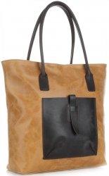 Univerzální kožená italská kabelka XXL Genuine Leather na každý den zrzavá