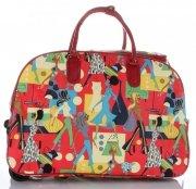 Cestovní taška na kolečkách s výsuvnou teleskopickou rukojetí Or&Mi Woman Multicolor - červená