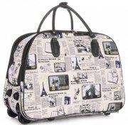 Cestovní taška na kolečkách s výsuvnou teleskopickou rukojetí Or&Mi Newspaper Paris&London Multicolor - béžová