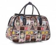 MALÁ cestovní taška kufřík Or&Mi Poštovní známky Multicolor - hnědá