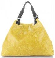 Univerzální kožená italská kabelka Genuine Leather Žlutá