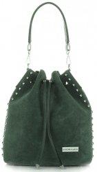Módní kožená kabelka Vittoria Gotti Made in Italy tmavě zelená