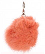 Přívěšek ke kabelce Pompon z přírodního vlasu barva losos