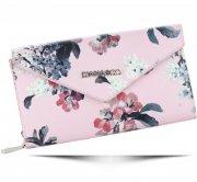 Módní Dámská peněženka Diana&Co Firenze květinový vzor světle růžová