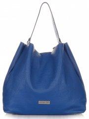 Kožená kabelka Shopperbag Vittoria Gotti modrá