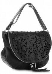 Vittoria Gotti Dámská kožená kabelka listonoška – vysoká kvalita Černá