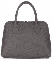 Elegantní kožená kabelka kufřík Šedá