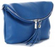 Dámská kožená kabelka listonoška Kobaltová
