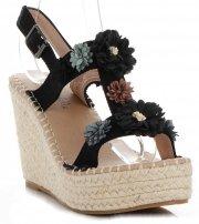 Módní Dámské Boty Na Platformě s květinami Lady Glory Černé