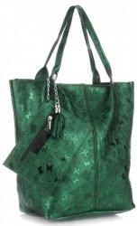Kožené kabelky Shopper bag Lakované Zelená