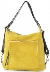 Kabelka batůžek přírodní kůže Vittoria Gotti žlutá