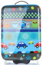 Modne Walizki Kabinówki Dla Dzieci w Sowy Firmy Snowball Multikolor - Niebieska