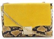 Vittoria Gotti Ekskluzywna Firmowa Listonoszka Skórzana Made in Italy w modny motyw węża Żółta