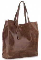 Torba Skórzana Shopper Bag z Kosmetyczką Brąz