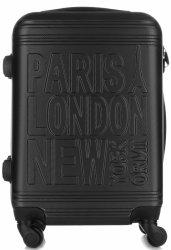 Modna Walizka Kabinówka Or&Mi Paris/London/NewYork 4 kółka Czarna
