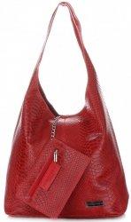 Torebki Skórzane Vittoria Gotti Włoski Shopper XL wzór Aligatora Czerwona