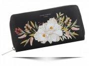 Modny Portfel Damski XL we wzór kwiatów David Jones Multikolor Czarny
