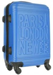 Modna Walizka Kabinówka Or&Mi Paris/London/NewYork 4 kółka Niebieska