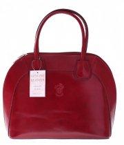 Torebka skórzana Włoski kuferek Genuine Leather Czerwony