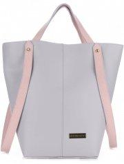 VITTORIA GOTTI Made in Italy Ekskluzywna Torba Skórzany Shopperbag XXL Jasno Szara z Różowym