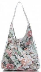Torebka Skórzana firmy Vittoria Gotti Uniwersalny Włoski Shopper w modne wzory Kwiatów Beżowa