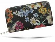 Dwukomorowe Portfele Damskie XL we wzór kwiatów David Jones Multikolor Czarny