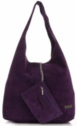 Oryginalne Torby Skórzane XL VITTORIA GOTTI Shopper Bag z Etui Fiolet - Śliwka
