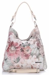 VITTORIA GOTTI Made in Italy Modna Torebka Skórzana w Kwiaty Multikolorowa Beżowa
