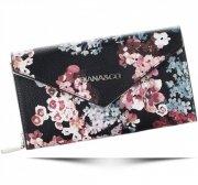 Modny Portfel Damski Diana&Co Firenze wzór Kwiatów Czarny