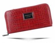 Portfel Damski Diana&Co Firenze typu piórnik z paskiem motyw Aligatora Czerwony